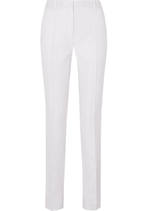 Victoria Beckham - Satin-trimmed Woven Straight-leg Pants - White