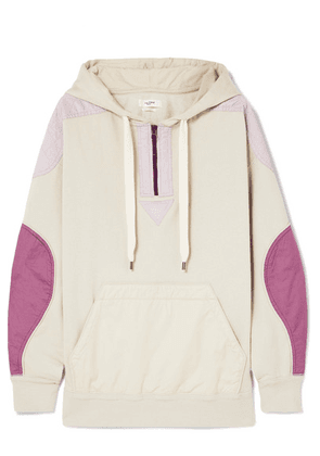 Isabel Marant Étoile - Nansel Paneled Cotton-blend Jersey And Twill Hoodie - Neutral