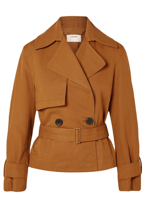 Vince - Belted Linen And Cotton-blend Twill Jacket - Camel