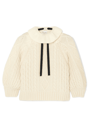 REDValentino - Cropped Bow-detailed Ruffled Cable-knit Wool Sweater - Ivory