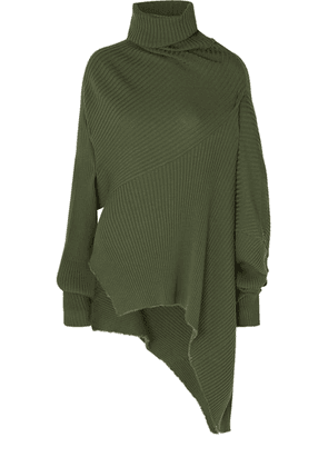 Marques' Almeida - Asymmetric Draped Distressed Ribbed Wool Sweater - Army green