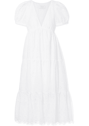 La Ligne - Olivia Tiered Broderie Anglaise Cotton-voile Midi Dress - White