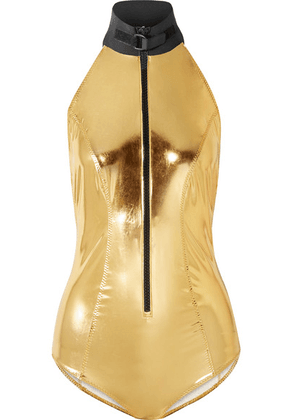Lisa Marie Fernandez - Metallic Stretch-pvc Halterneck Swimsuit - Gold