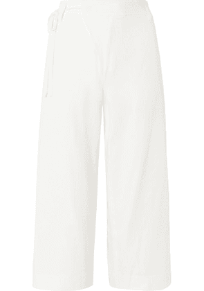 Vince - Cropped Wrap-effect Cotton-twill Wide-leg Pants - Off-white