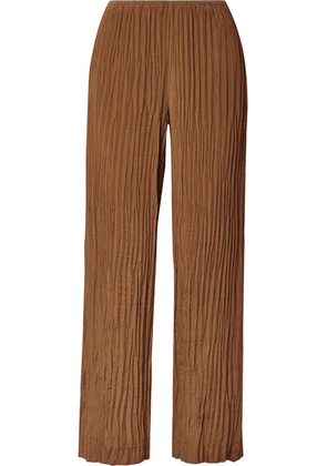 Vince - Crinkled Crepe De Chine Straight-leg Pants - Light brown
