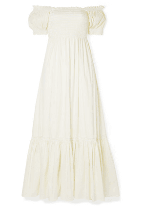 La Ligne - Arielle Shirred Striped Cotton-blend Poplin Maxi Dress - White