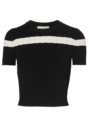 Alexander McQueen - Pointelle-trimmed Cable-knit Top - Black