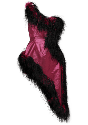 16ARLINGTON - One-shoulder Asymmetric Feather-trimmed Lamé Dress - Magenta