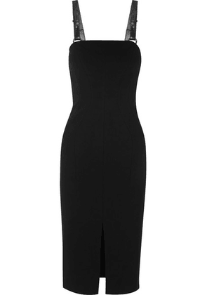 TOM FORD - Leather-trimmed Stretch-crepe Midi Dress - Black