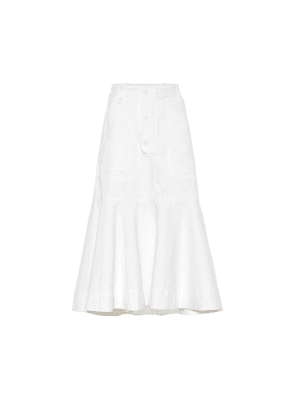 Flounce denim midi skirt