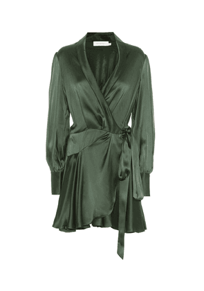 Espionage silk wrap minidress