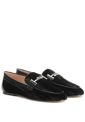 Double T crushed-velvet loafers