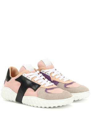 Mesh and leather sneakers