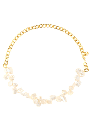 Two Faced Shelly gold-plated pearl necklace