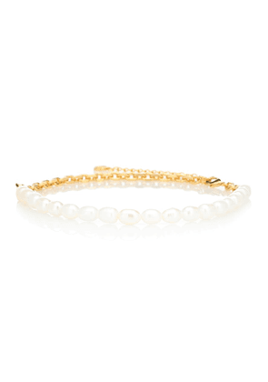 Duel gold-plated pearl necklace