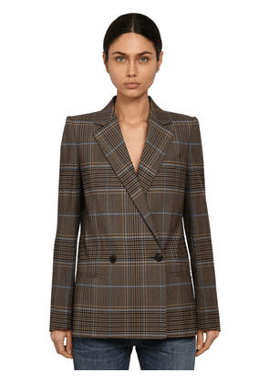 Double Breasted Check Wool Blend Blazer
