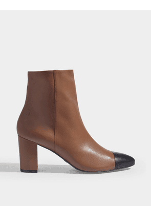 Two Tone Jill Ankle Boots in Beige and Black Nappa Leather