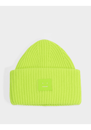 Pansy N Face Beanie in Lime Green Wool