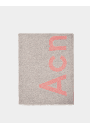 Toronty Logo Scarf in Grey and Pink Wool