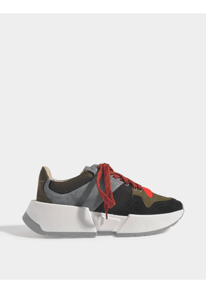 Platform Sneakers in Red, Black and Green Leather