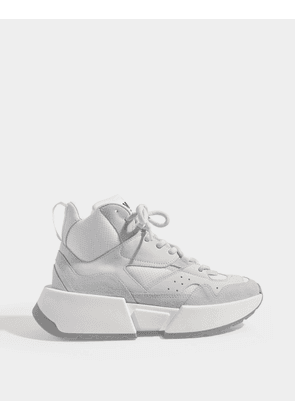 High Platform Sneakers in White Leather