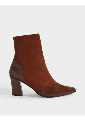 Turnover Slim Ankle Boots in Brown Suede and Wrinkled Patent Leather