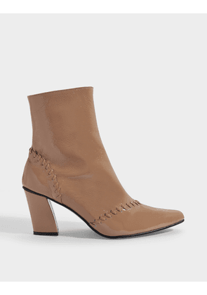 Turnover Slim Ankle Boots in Beige Calf Leather