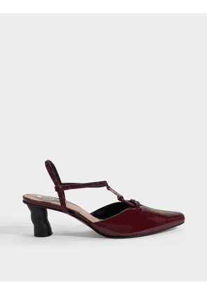 Turnover Ring Wave Slingbacks in Burgundy Wrinkled Patent Leather