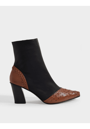 Sting Embroidery Slim Ankle Boots in Brown Black Leather