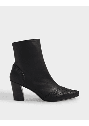 Sting Embroidery Slim Ankle Boots in Brown and Black Leather