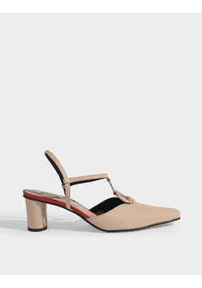 Turnover Ring Wave Slingbacks in Crem Calf Leather