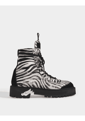All Over Hiking Boots in Zebra Printed Calf Leather