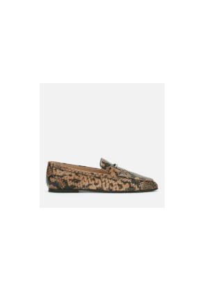 Tod's Women's Python Print T Logo Loafers - Clay - UK 2 - Beige