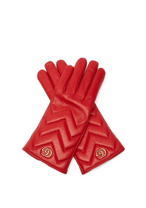 Gucci - Gg Marmont Chevron Quilted Leather Gloves - Womens - Red