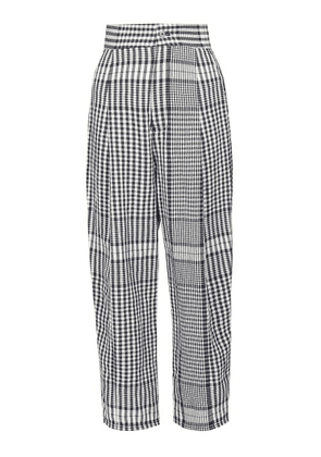 Loewe - Checked Canvas Tapered Trousers - Womens - Black White
