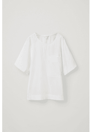 PATCH-POCKET CRINKLED COTTON TOP