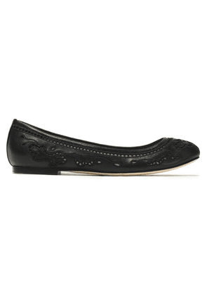 Dolce & Gabbana Broderie Anglaise Leather Ballet Flats Woman Black Size 35.5