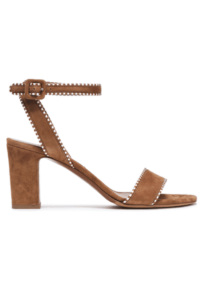 Tabitha Simmons Leather-trimmed Suede Sandals Woman Light brown Size 38