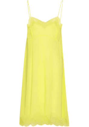 Valentino Lace-trimmed Silk-blend Voile Nightdress Woman Bright yellow Size S