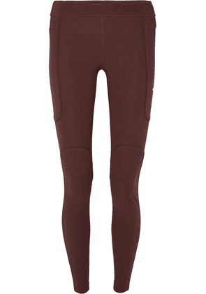 Nike - Pro Hypercool Mesh-paneled Ribbed Stretch-jersey Leggings - Burgundy