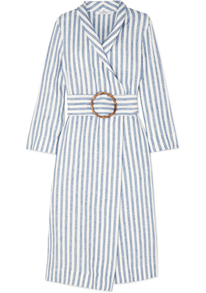 Sleeper - Belted Striped Linen-gauze Robe - Blue