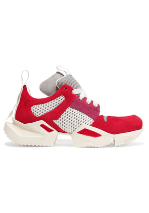 Unravel Project - Suede And Mesh Sneakers - Red