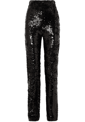 16ARLINGTON - Sequined Crepe Straight-leg Pants - Black