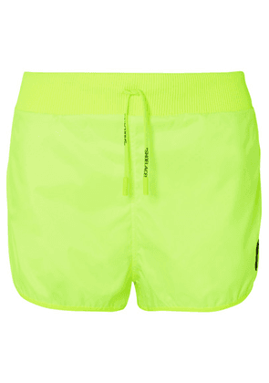 Off-White - Rubber-appliquéd Neon Shell Shorts - Lime green