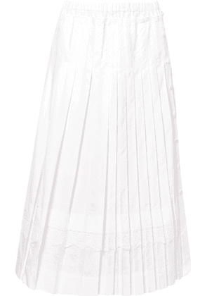 Simone Rocha - Broderie Anglaise-trimmed Pleated Cotton-poplin Midi Skirt - White