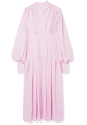 Emilia Wickstead - Pleated Stretch-crepe Midi Dress - Lilac