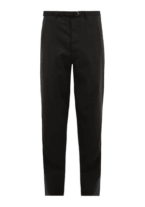 Rochas - Belted Wool Tailored Trousers - Mens - Grey