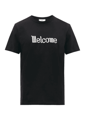 Ami - Embroidered Cotton Jersey T Shirt - Mens - Black