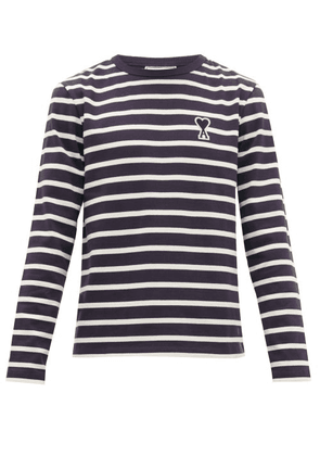 Ami - Breton Striped Cotton Jersey Long Sleeved T Shirt - Mens - Navy White