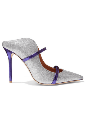 Malone Souliers - Maureen 100 Metallic-trimmed Glittered Leather Mules - Silver